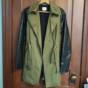 Army Green Jacket with Black Pleather Sleeves